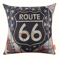 45*45cm Retro USA Route 66 Linen Cushion Cover Pillow Case Vintage Home Decor