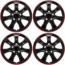 """Hub Caps Set of 4 pieces 15"""" inch Ice Black & Red Trim Wheel Covers Cap Covers"""