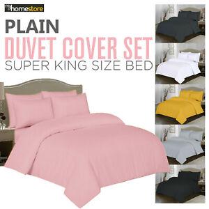Luxury Duvet Quilt Cover + Pillow Cases Set Microfibre Bedding Sets Super King