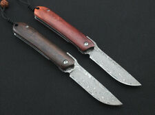 Y-START Mini Pocket Damascus Steel Blade Folding Knife Outdoor Camping Y-ST35