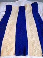 Hand made Afghan Throw Blanket 46x60 Nautical Blue Cream Stripes Has Flaws