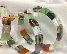 "Natural 12X12Mm Multicolor Crystal jasper Stretch Bracelet 7.5"" Aaa"