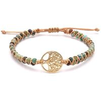 BENAVA Damen Yoga Armband Lebensbaum Anhänger Jaspis Edelstein Grün Bunt Gold