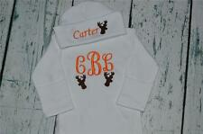 CUSTOM PERSONALIZED Hunting Deer Monogram Baby Sleeper Gown & Hat Outfit Newborn