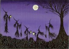 ACEO Original Painting Halloween Whimsical Lanterns Cauldron Witches Art HYMES
