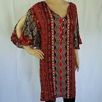 Shirt Dress NEW Cold Shoulder Soft Rayon Womens Size 12 14 16 Tribal Print