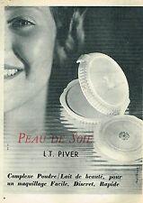 F- Publicité Advertising 1955 Maquillage Poudre L.T Piver Peau de Soie