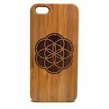 Flower of Life Case for iPhone 6 6S Bamboo Wood Cover Sacred Geometry