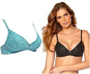 Petite Secrets Non Wired Lightly Padded Lace Bra with Diamante Centre