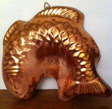 """Copper Fish Jello Mold 8 3/4"""" Tall Brass Hanger"""