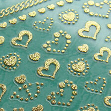 Nail Art 3D Sticker Metal like Goldtone Hearts and Anchor Chains 44+5 stickers