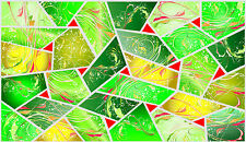Stained glass film Green Mosaic design window decoration frost effect