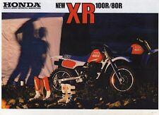 1987 HONDA XR100RH XR80RH 2 Page Motorcycle Brochure NCS