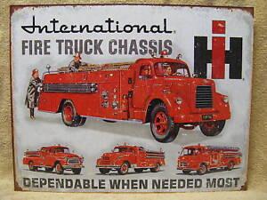 International Fire Truck Tin Metal Sign Decor Chassis
