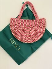 Rixo 'Nelly' Half Moon Bag - Pink Coral, Wood Bead & Satin, Net-a-Porter RRP£140