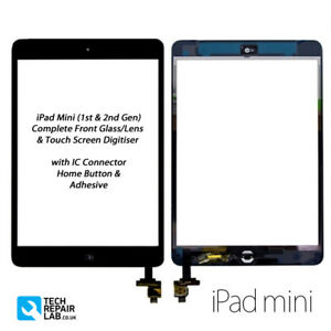 NEW iPad Mini 1 & 2 Complete Front Glass/Digitiser Touch Screen Assembly - BLACK