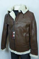 Cognac Men B3 100% Shearling Leather Sheepskin Bomber Flight Coat Jacket M-8XL