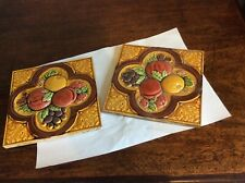 ANTIQUE MINTON HOLLINS FRUIT MOTIFE TILES. Fireplace tile