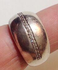 bague fiançailles alliance vintage en argent 925 poinçon cristal diamant T.56