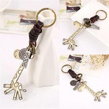 Cute Giraff Key Chain Leather Keychains Vintage Men Women Keyring Keyfob Gift Ax