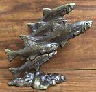 VIntage Scott Nelles Bronze Art Sculpture Figurine Trout School Fish Wildlife
