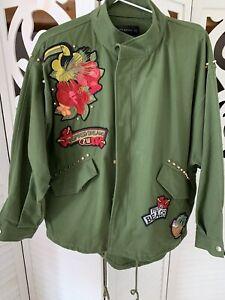 Zara Fieldjacket Parka Oliv bestickt Oversized Gr. M wie Neu.