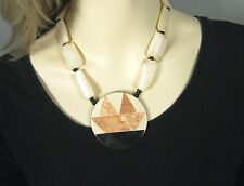 Necklace Size 18 Inch Pendant Inlay Mother of Pearl String Chunky Runway Strand