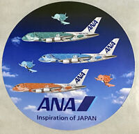 "Sticker ANA All Nippon Airways Airbus A380 Turtle ""Flying Honu"" 2 inch diameter"