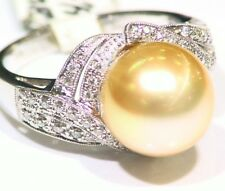 Vintage 14K Solid Gold Natural Golden Pearl 12.5mm Engagement Ring Art Deco
