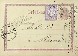 NETHERLANDS 1877 2½c UPRATED ON 2½c POSTAL CARD FROM ROTTERDAM TO MAINZ GERMANY