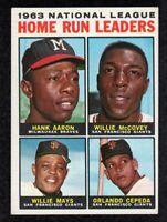 """1964 Topps #9 Leaders Hank Aaron Willie Mays McCovey Cepeda HOF Card """"mrp VG/EX+"""