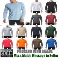 LOT 6 PACK PRO CLUB HEAVYWEIGHT LONG SLEEVE T SHIRTS Men's Plain Crew Neck S-7XL
