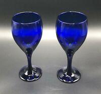 """2 Libbey Teardrop Goblet Cobalt Blue 7.25"""" Water Wine Drinking Glass"""