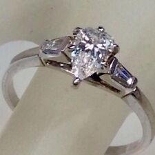 DIAMOND PEAR CUT ENGAGEMENT RING BAGUETTE ACCENTS SOLID 14K WG APPRAISED $6750