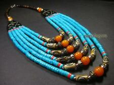 N4282 FASHION Massive Strand Amber Resin Bone Beautiful Long NECKLACE TIBETAN