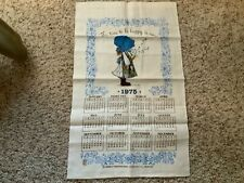 New listing Vintage1975 Linen Tea Towel Calendar Holly Hobbie Time to Be Happy W/Label