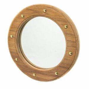 Solid Teak Porthole Mirror