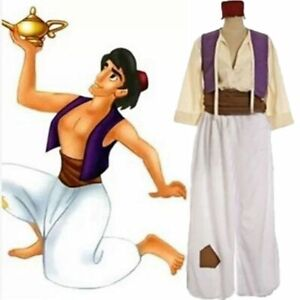 Adult  Aladdin Arabian Prince Cosplay Costume with Outfit Hat Men Party