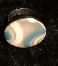 "Vintage Adjustable Silvertone Retro Funky Ring Circle with Swirls 1"" Diameter"