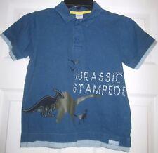 Gymboree Jurassic Stampede Blue Collar Polo Top Sz 6 EUC Dinosaurs Button Down