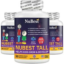 Pack of 3 NuBest Tall Kids (from 2-9yrs) Powerful Growth Multivitamins, Chewable