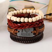 Men's Leather Braid Wooden Bead Multilayer Cuff Bangle Bracelet Wristband Set