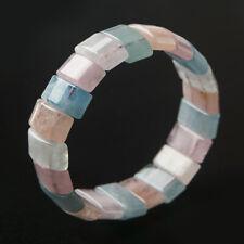Genuine Natural Colorful Morganite Rectangle Beads Women Bracelet 20x7mm AAAA