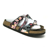 Birkenstock Birkies Womens 240 Black Beach Floral Leather Sandals Size L 6 M 4