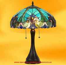 Tiffany Victorian Style Table Lamp Blue Stained Glass - Graceful Elegant Look