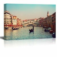 Wall26 - Canvas Prints Wall Art - Rialto Bridge and Gondolas in Venice - 24x36