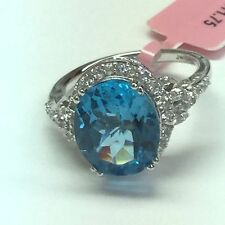 JWBR 925 Sterling Silver Cocktail Ring With Blue Topaz and CZ Stone Size 7
