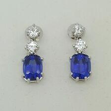 18k white gold 4.20 Ct round diamond & blue sapphire drop dangling earrings