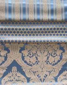 Stoff Meterstoff Möbelstoff Polsterstoff Profiqualität Barock Renaissance blau