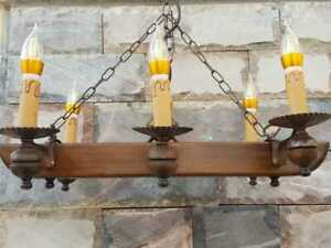 VINTAGE WROUGHT IRON SPANISH CHANDELIER MAHOGANY LIGHT FIXTURE RUSTIC GOTHIC